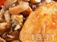 Печена агнешка плешка с гъби и синьо сирене на фурна